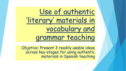 Use of authentic *literary* materials in vocabulary