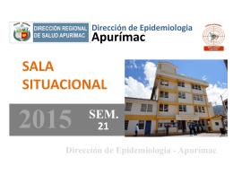 APURÍMAC 2010 – 2015* (SE 01 – 21)