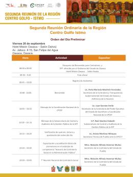 Agenda - Región Centro-Golfo