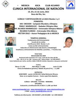 MEXSCA ASCA CLUB ACUARIO CLINICA INTERNACIONAL DE