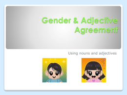 Gender & Adjective Agreement
