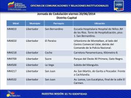 Jornada de Cedulación viernes 20/06/2014