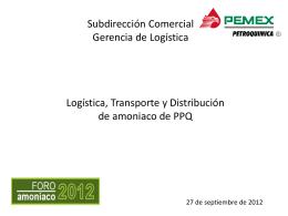 Logística, Transporte y Distribución. de amoniaco.