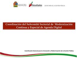 Coordinación del Subcomité Sectorial de Modernización Continua y