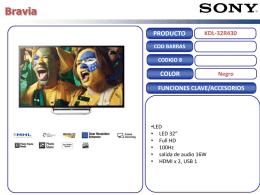 PRODUCTO FUNCIONES CLAVE/ACCESORIOS COLOR Negro