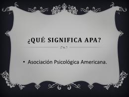 ¿Qué significa APA?