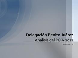Análisis del POA 2013 de la Delegación Benito Juárez.