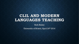 CLIL AND MFL, Bristol — Ruth Bailey