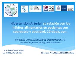 Hipertensión Arterial: su relación con los hábitos alimentarios en