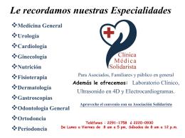 Clínica médica Asetaca-Nuestras Especialidades