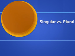 Singular vs. Plural Adjectives