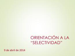 Selectividad: orientaciones.
