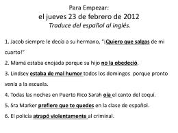 Para Empezar: el jueves 23 de febrero de 2012 Traduce