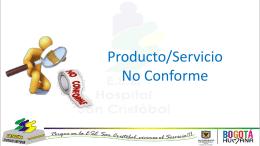 Caracterización Producto Servicio No Conforme