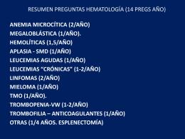 RESUMEN PREGUNTAS HEMATOLOGÍA (14 PREGS - Aula-MIR