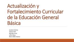 Actualización y Fortalecimiento Curricular de la Educación General