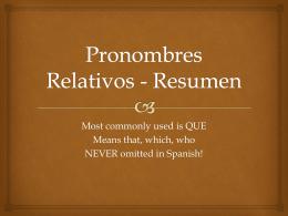Pronombres Relativos - Resumen