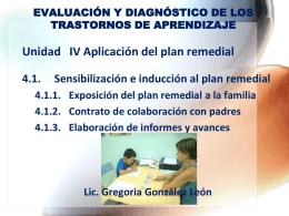 Unidad IV Aplicación del plan remedial