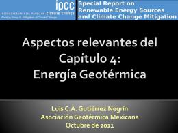 Aspectos relevantes del Capítulo 4: Energía Geotérmica