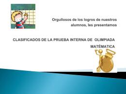 Clasificados Olimpiadas Internas de Matematicas 2014
