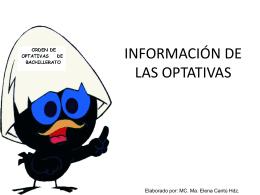 INFORMACIÓN DE LAS OPTATIVAS