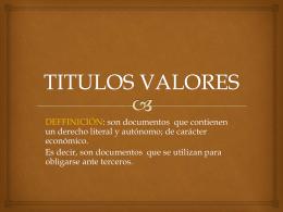Titulos valores.