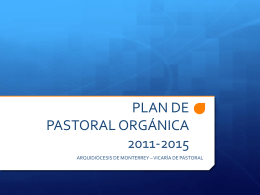plan de pastoral orgánica 2011-2015
