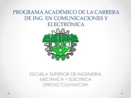 Programa Acádemico de la Carrera de Ingeniería en