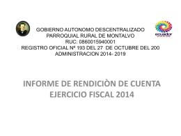 rendicion de cuentas 2014 - Bienvenidos a la Parroquia de Montalvo