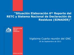 Estado de implementación del plan de acción del RETC y proyectos