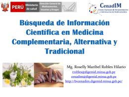 Búsqueda de Información sobre Medicina Complementaria