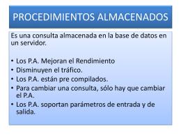 PROCEDIMIENTOS ALMACENADOS