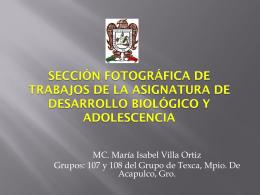 """Asignatura """"Desarrollo Biológico y Adolescencia""""Prof. Isabel Villa."""
