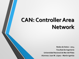 CAN: Controller Area Network - Universidad Nacional de Mar del Plata