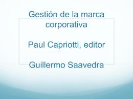Gestión de la marca corporativa Paul Capriotti, editor