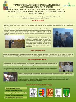 """Póster """"Transferencia Tecnológica de la Universidad a Liceos"""