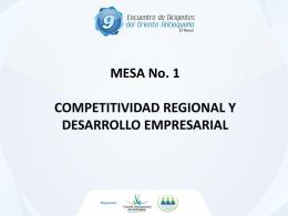 MESA No. 1 Competitividad regional y Desarrollo