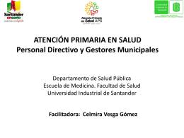 ATENCIÓN PRIMARIA EN SALUD Personal Administrativo Municipal