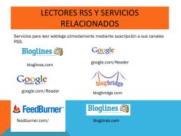 Lectores RSS y servicios relacionados Servicios