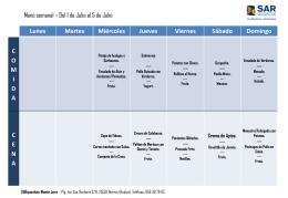 Menu mes de JULIO 2015 SARquavitae Monte Jara