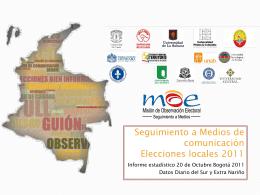 Seguimiento a Medios de comunicación Elecciones locales