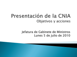 CNIA Plan de acción en terreno