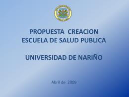 PROPUESTA CREACION ESCUELA DE SALUD PUBLICA