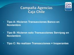 Campaña Agencias Caja Chile Tipo A: Hicieron Transacciones