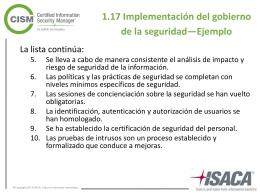1.17 Implementación del gobierno de la seguridad—Ejemplo