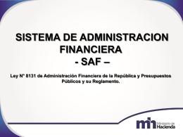 Esquema del Sistema de Administración Financiera.