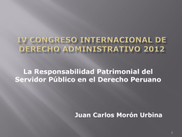 PRESENTACION DR. JUAN CARLOS MORON URBINA