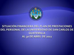 Situación Financiero del Plan al 30 de abril 2011