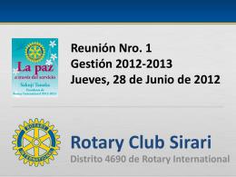 Reunión Nro. 1 - Rotary Club Sirari