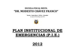 Plan Institucional de Emergencia 2012